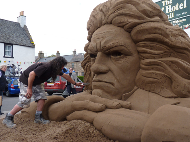 Andy Moss and the Beethoven Sand Sculpture