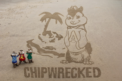 Alvin Simon and Theodore with the sand drawing