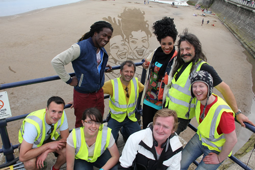 The Sand In Your Eye team with presenters Nigel Clarke, Michelle Akerley and director Marcus Harben