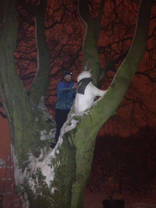 Jamie in the tree adjusting Percival's scarf