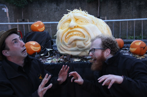Tom Bolland modelling for the giant pumpkin face