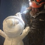 Jamie Wardley carving an ice sculpture