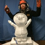 Jamie Wardley with an ice sculpture