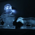 ice sculptures of Santa and a badger