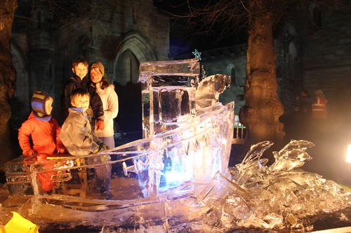 family in ice sculpture
