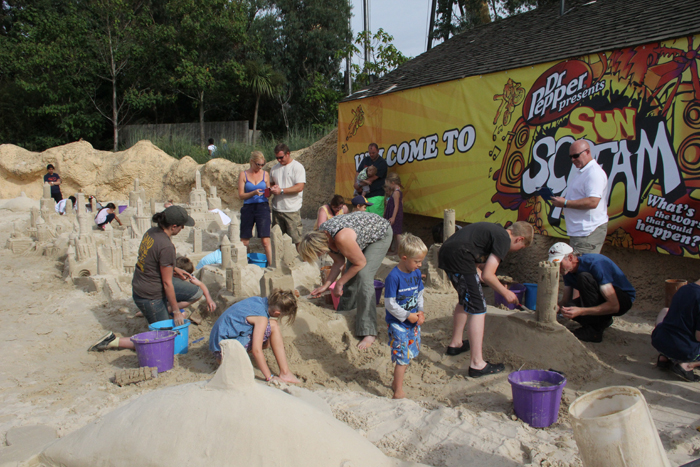 Jo working hard with the sand sculpture workshops