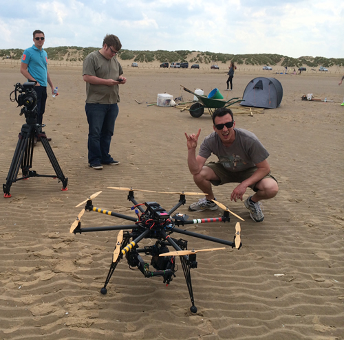 Tom Bolland with an octocopter on the beach