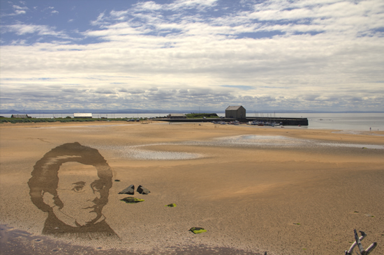 Anamorphic sand drawing portrait of Franz Schubert