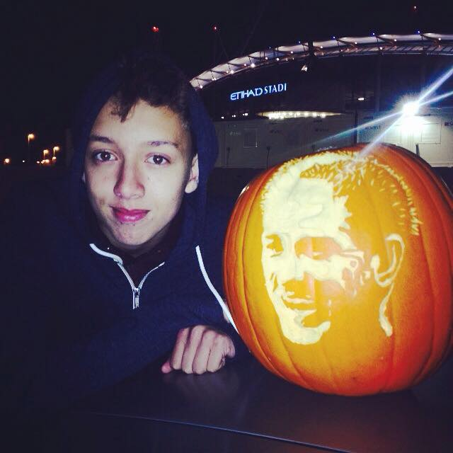 Harry with the pumpkin outside the Etihad Stadium