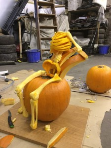 fred pumpkin skeleton being made