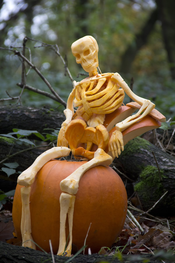 pumpkin carving skeleton