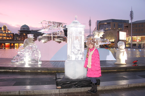 The ice sculpture looking beautiful in the evening light