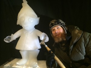 Jamie Wardley with ice sculpture