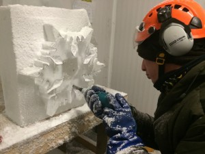 Tom bolland making ice sculpture