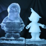 ice sculpture of Father Christmas and an efl