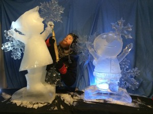 Jamie Wardley and two ice sculptures