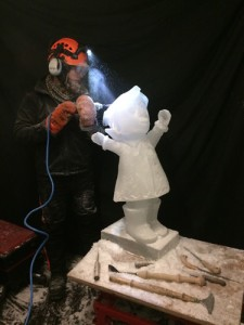 carving an ice sculpture