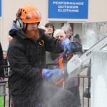 carving ice with chainsaw