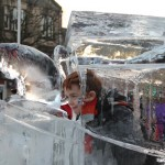 child inside ice boat sculpture