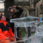 Harbour Master and Jamie Wardley in ice sculpture