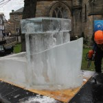 Ice sculpture in the making