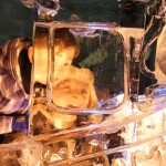children looking through ice sculpture