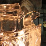 ice boat sculpture at night