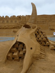 sand sculpture of buffalo bones