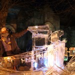 Jamie Wardley in ice art piece