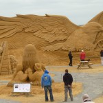 several huge sand sculptures