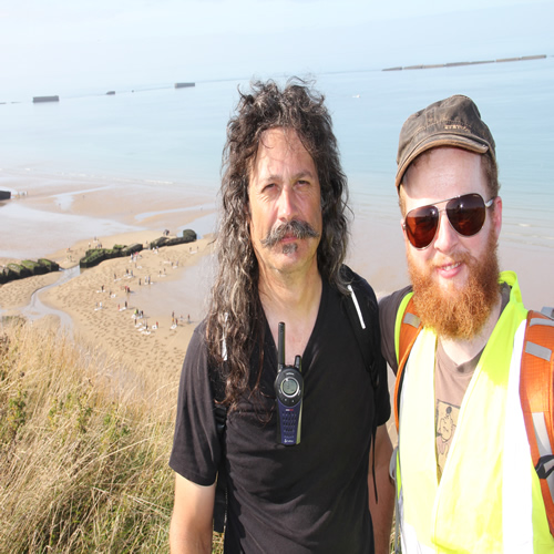 Jamie Wardley and Andy Moss in Arromanches, France