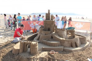 James Haigh making a huge sand castle