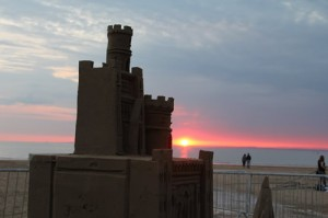big sand castle at sunset