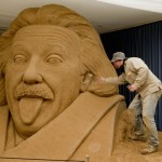 Albert Einstein sand sculpture by Firenz