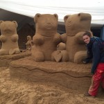 Claire Jamieson finishing gummy bear sand sculpture