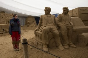 Claire at bins sand sculpture festival
