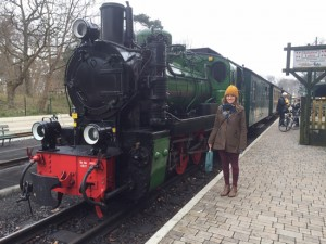 Claire on the steam train