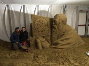 Jamie and Claire sand sculpture