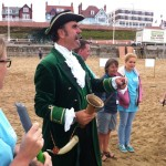 town crier on Bridlington beach