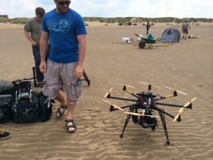 octocopter on the beach