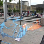 Anamorphic chalk drawing