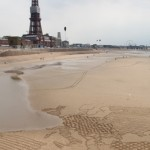 sand drawing by Blackpool Tower