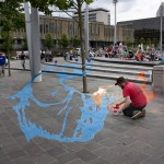 Jamie Wardley making Anamorphic chalk drawing
