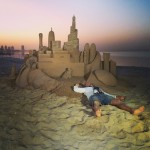 Ferenc Monostori with sand sculpture