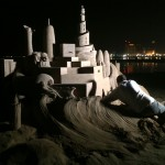sand sculpting at night