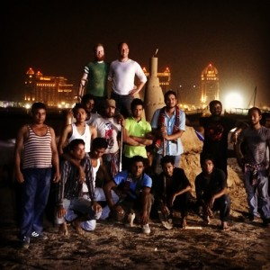 sand sculpture team in Qatar