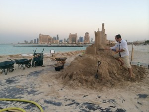 making giant sand castle