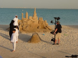 sand sculpture on beach in Middle east