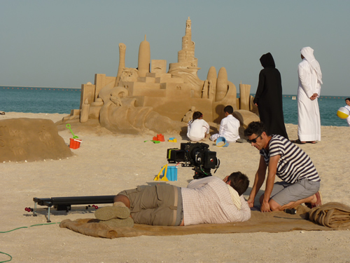 filming an advert in Qatar
