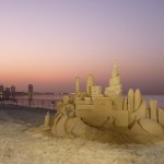 Sand sculpture at dusk
